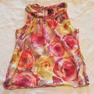 New Directions Floral Sleeveless Top. Size Small